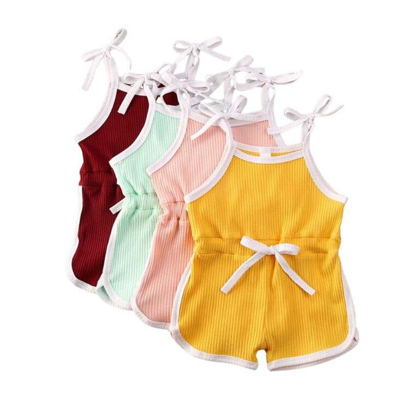 Mono de 4 colores sólidos para niñas pequeñas, petos sólidos sin mangas, monos, ropa de bebé encantadora, novedad de verano