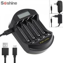 Soshine LCD Display LifePO4 NI MH 4 Slot Intelligent Battery Charger for 14500 /14400 / AA / AAA Battery