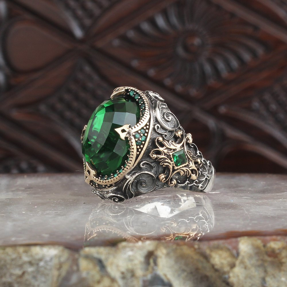 Zircon Ottoman Silver,,Handmade 925k  Made in Turkey Outstanding Gift Sterling Silver Man Ring Natural Stone