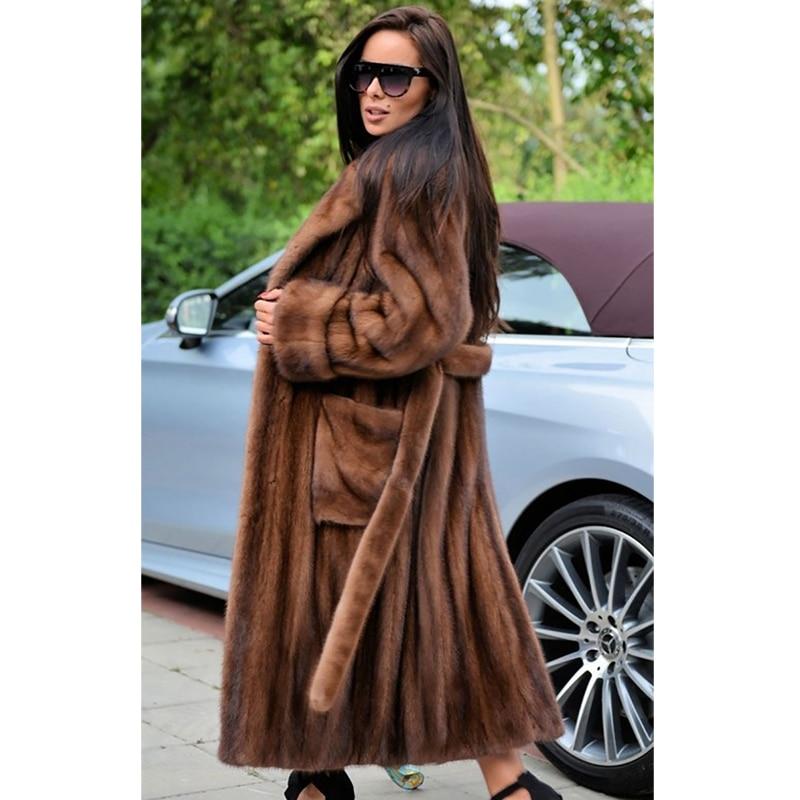 Natural Real Mink Fur Coats For Women High Quality Genuine Mink Fur Jackets Long With Lapel Collar Woman Plus Size Fur Coat Pelt
