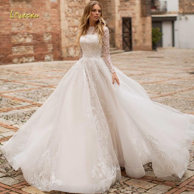Loverxu Vestido De Noiva Long Sleeve Lace Vintage Wedding Dresses 2021 Sexy Illusion Appliques Court Train A Line Bridal Gowns 1