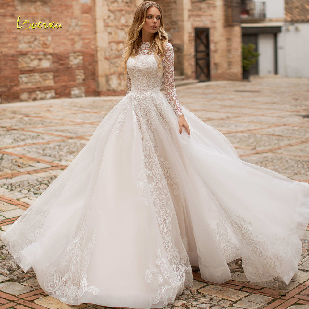 Loverxu Vestido De Noiva Long Sleeve Lace Vintage Wedding Dresses ...