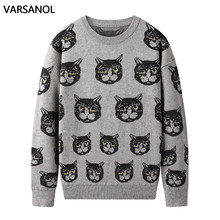 Varsanol karikatür kedi erkek kazak giyim kış sıcak örme kazak erkekler Casual kazaklar pamuklu erkek giysileri uzun kollu 2020