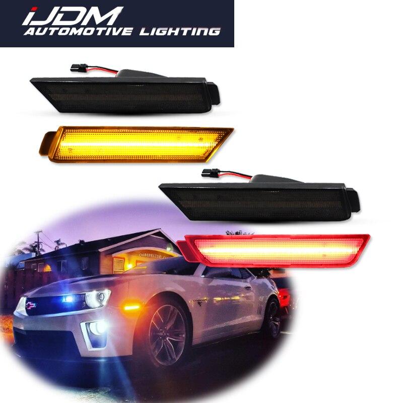 Ijdm para 2010-2015 chevy camaro frente do carro âmbar traseiro vermelho led pára-choques lado marcador luzes fender/marcador lateral blinker lâmpadas kit 12 v