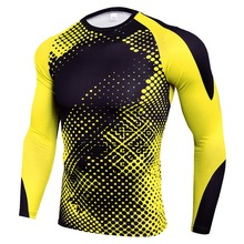 Мужская компрессионная футболка для спорта на открытом воздухе, быстросохнущая футболка, облегающий Топ, для бега в помещении, Спортивная тренировочная одежда