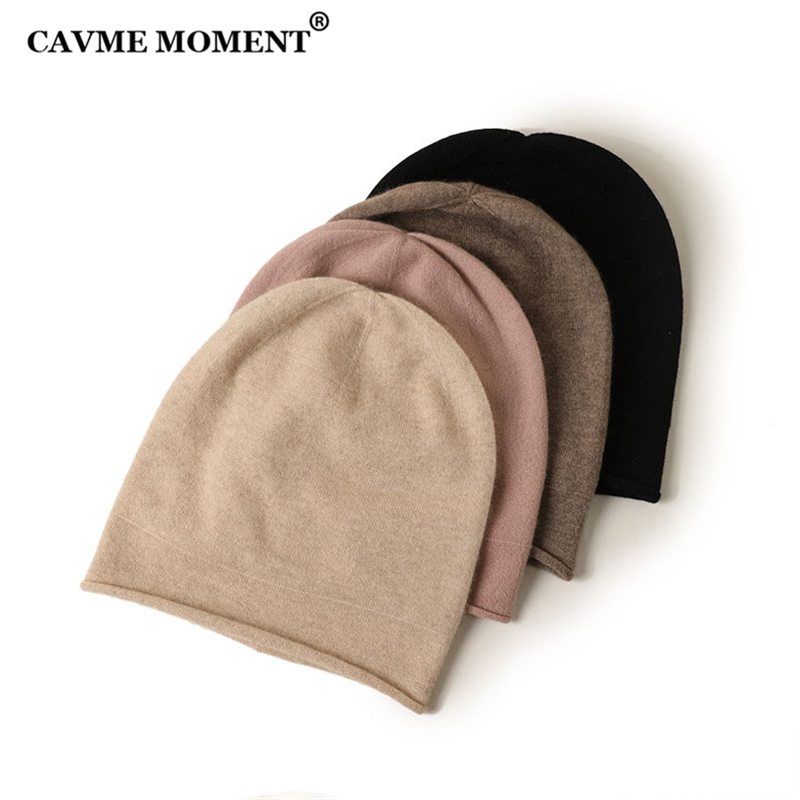 CAVME Knitted Cashmere Skullies Beanies Unisex Winter Cashmere Hats Luxury Gift Solid Color 59g Free Size