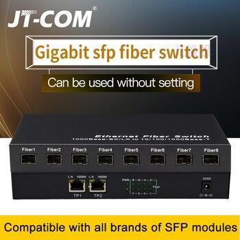 Gigabit Network SFP Fiber Switch 1000Mbps Media Converter 8 Port and 2 RJ45 8G2E Ethernet - discount item  50% OFF Communication Equipment