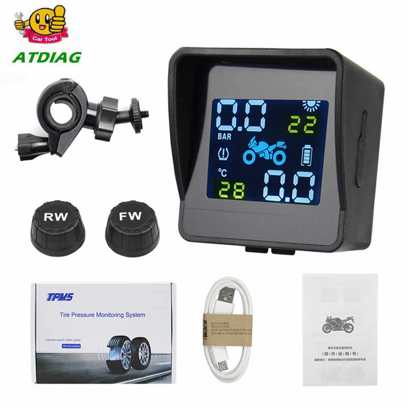 Solar Motorcycle Tyre Tool Wireless TPMS Tire Pressure Monitor  External Sensors