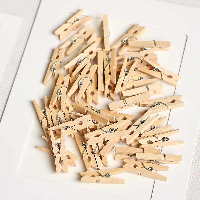 중국에서 만든 10pcs 25mm 로그 나무 클립 사진 클립 Clothespin 공예 장식 클립 학교 사무실 클립