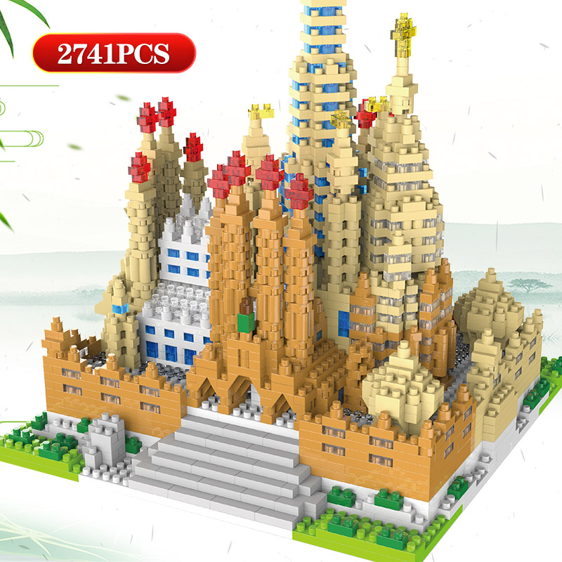 LOZ Mini Blocks World Famous Architecture Sagrada Family Diamond Church Model Building Block Bricks Toy For Children