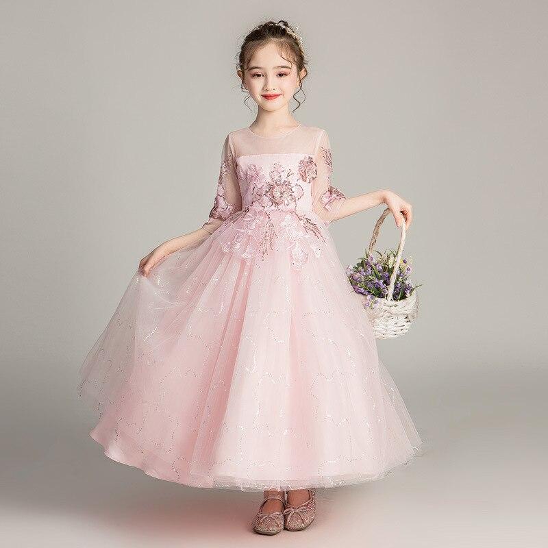 Enfants de luxe blanc Tulle fleur fille robes 2019 robe de bal perles enfants fête robe de bal première Communion robes