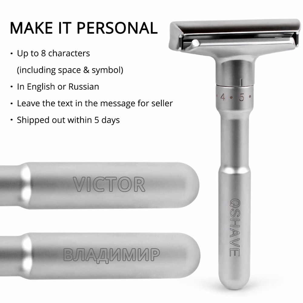 QSHAVE Adjustable Safety Razor Double Edge Classic Mens Shaving  1-6 File Removal Shaver With 5 Blades Make It Personal