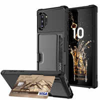 Slim Armor Card Phone Cases for Samsung Galaxy Note 9 10 S9 S10 Plus S10e Wallet Case TPU+PU Leather S10 Shockproof Cover