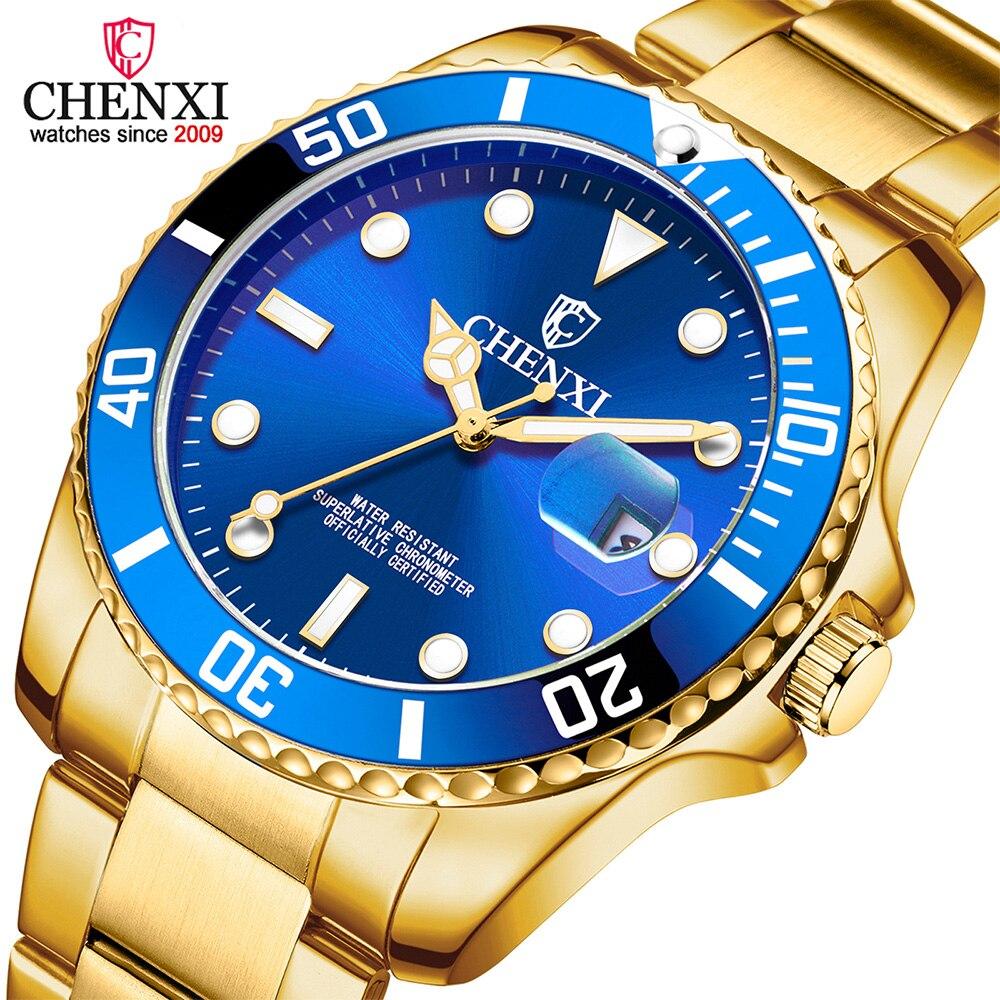 Luxury Top Brand Gold Men Watch Unique Blue Golden Business Dress Watch For Male Minimalism Luminous Pointer Waterproof Clock