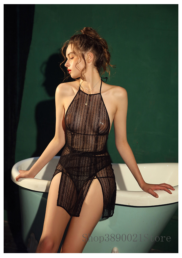 Image 2 - Women Sleepwear Sexy Night Dress with Panties Female Summer Thin Lace Temptation Style Perspective Backless Strap NightdressNightgowns & Sleepshirts   -