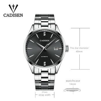 Genuine CADISEN Top Luxury Brand Men full steel automatic mechanical male selfwind 50M waterproof curved surface ultrathin watch 1