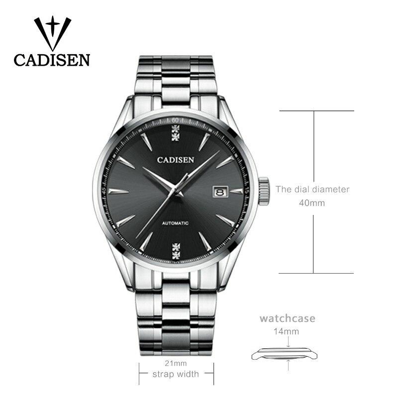 Echt CADISEN Top Luxe Merk Mannen vol staal automatische mechanische mannelijke selfwind 50M waterdichte gebogen oppervlak ultradunne horloge-in Mechanische Horloges van Horloges op  Groep 2