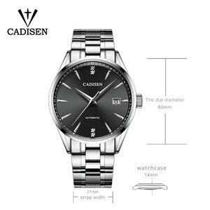 Image 2 - Oryginalna CADISEN Top luksusowa marka mężczyźni pełna stal automatyczny mechaniczny dla mężczyzn selfwind 50M wodoodporna zakrzywiona powierzchnia ultracienki zegarek