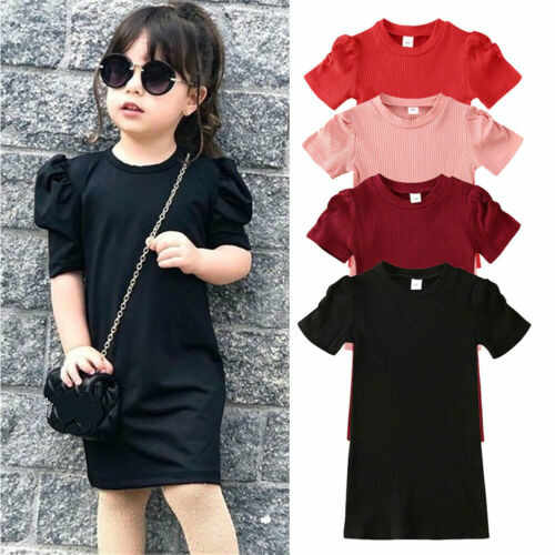 2020 Toddler Kids Baby Girls Dress 4 Colors Puff Sleeve Solid Straight Casual Knitted Dress Top Outfit 1-6Y
