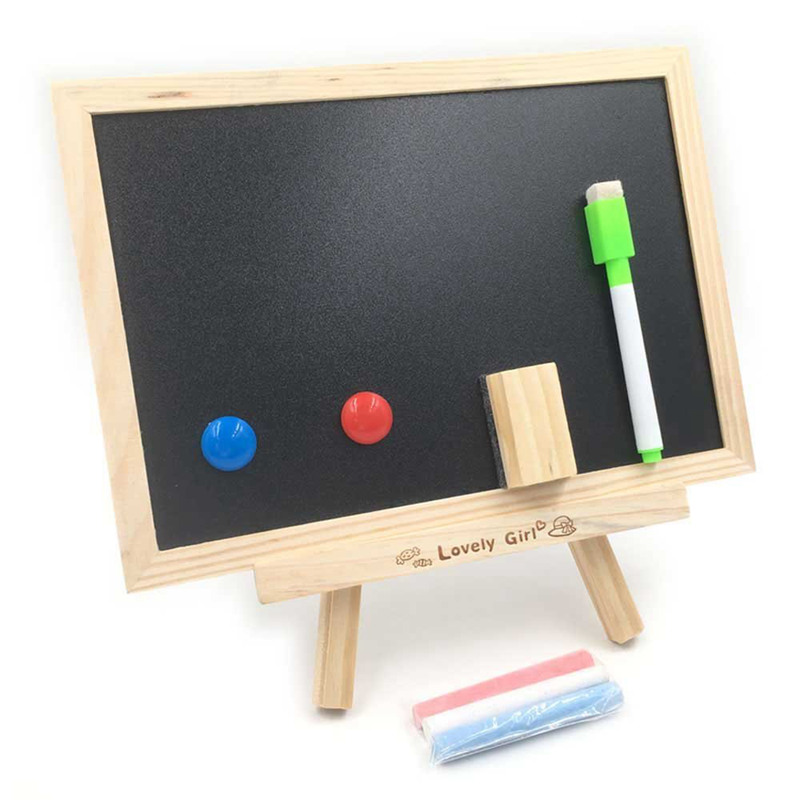 Log double sided small blackboard whiteboard message board hanging drawing board|  - title=