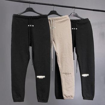 2020 najlepsza jakość mgły Essentials z nadrukowanym logo kobiety męskie spodnie do joggingu spodnie dresowe odzież streetwear w stylu hip-hop luźny krój mężczyźni dorywczo spodnie tanie i dobre opinie Mieszkanie COTTON List REGULAR Pełnej długości High Street Midweight Suknem Sznurek