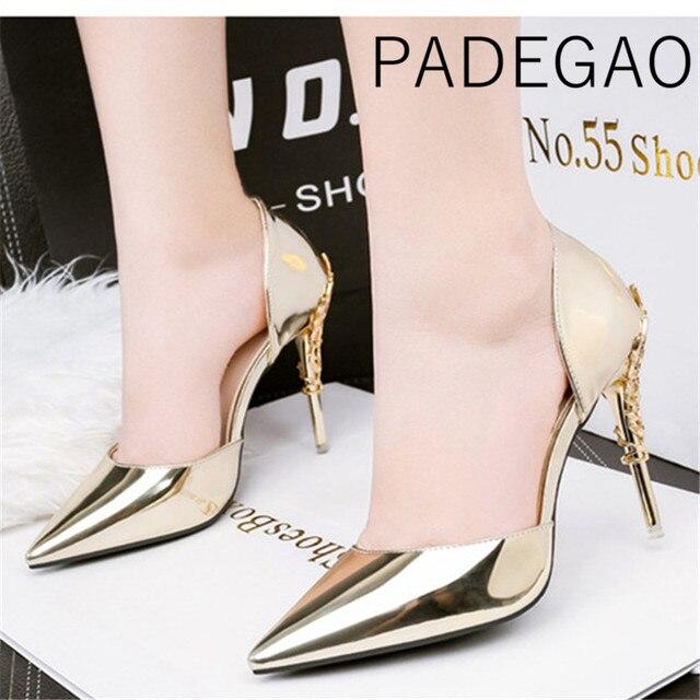 2019 حذاء نسائي ذو كعب عالٍ و مجموعة الحقائب للحفلات المعدنية الكورية مدبب تو بلينغ السيدات الذهب