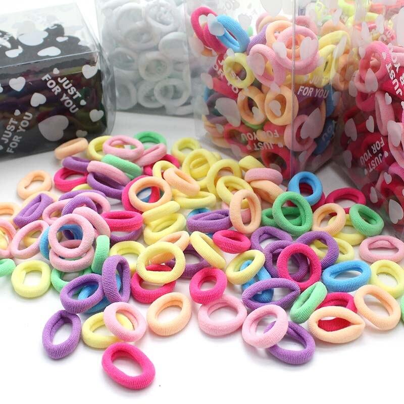 100 pcs//lot Kids Hair Rope Scrunchy Elastic Girls Rubber Band Gum for Hair Ties