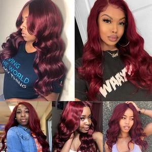 Image 5 - Pinshair 99j hair red burgundy bundles with closure 브라질 바디 웨이브 휴먼 헤어 위브 번들 (closure non remy no tangle)