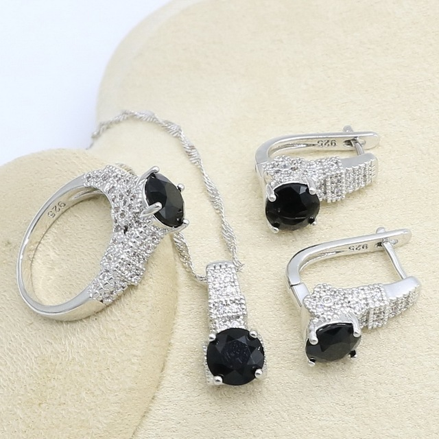 Black White Zircon  Silver Color Jewelry Set for Women with Bracelet Hoop Earring Necklace Pendant Ring Gift Box