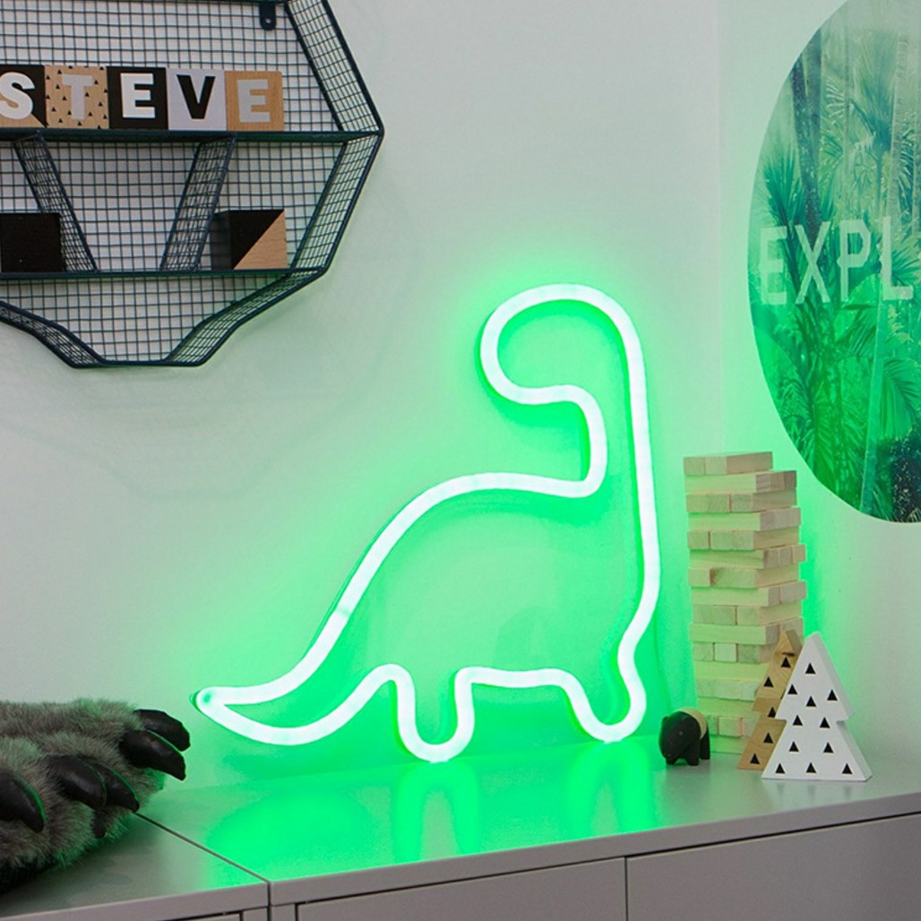 Night Light Neon Dinosaur LED For Birthday Wedding Party Bedroom Wall Hanging Kids Room Home  Xmas Decor Lamps