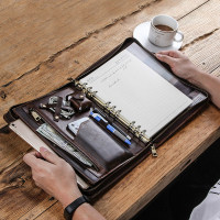 Luxury Retro Cow Leather Case Cover For Ipad Pro 10.5 Ring Binder Padfolio Tablet Sleeve Pouch Notebook Case Bag Zipper Holder