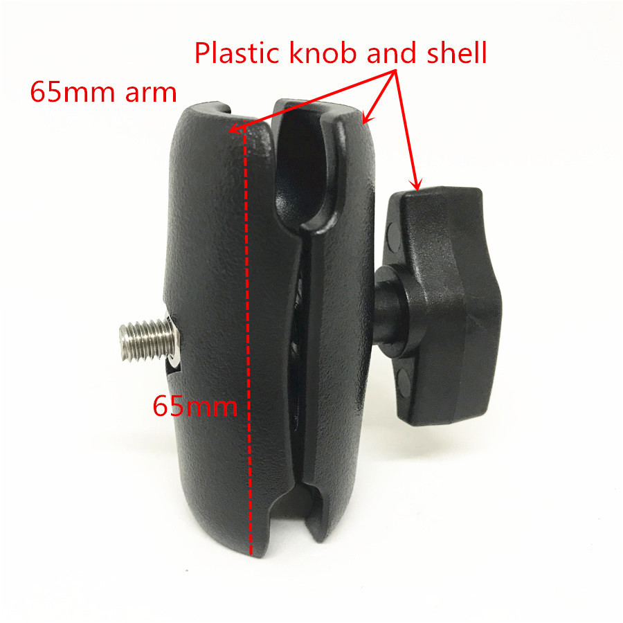 Plastic double socket arm 65mm length ball mount holder (2)