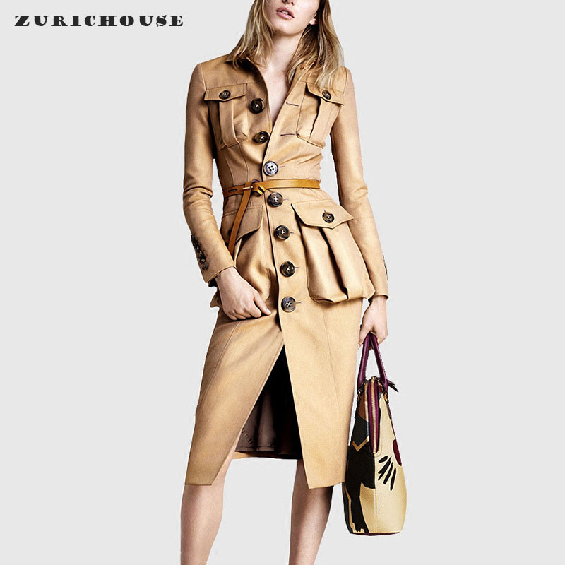 ZURICHOUSE Long Leather Jacket Women Temperament Slim Khaki Single-breasted Windbreaker Spring Women's Trench Coat With Belt
