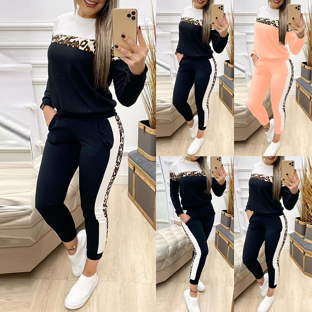 Spring Tracksuit Women Leopard Printed Two Piece Set Pullover Tops And Jogging Femme Suit Casual Long Sleeve Clothes D30