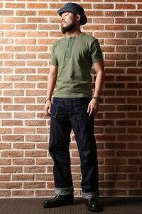 Image 5 - BRONSON Henley T Shirt dawne czasy męskie bawełniane koszule męskie koszulki z krótkim rękawem Tee Slim dopasowane koszulki Casual ubrania Vintage Solid Color