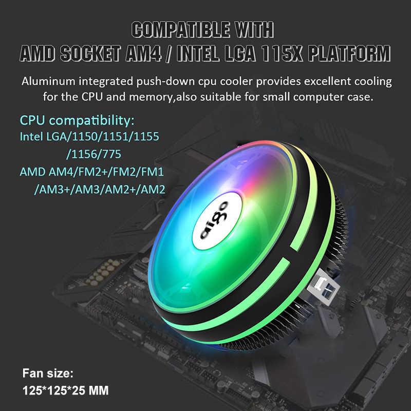 Aigo CPU Cooler RGB 120 MILLIMETRI di Raffreddamento della CPU 4Pin PWM Ventola di Raffreddamento del Dissipatore di Calore Intel LGA/115X/775 /AM3/AM4 PC Ventola di Raffreddamento Del Radiatore Del Computer