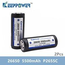 2 adet KeepPower 26650 pil 5500mAh li ion korumalı şarj edilebilir 3.7V pil P2655C drop shipping orijinal batteria