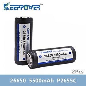 Image 1 - 2 pièces KeepPower 26650 batterie 5500mAh li ion protégé rechargeable 3.7V batterie P2655C livraison directe dorigine batteria