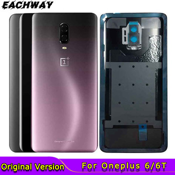 Original New Oneplus 6 6T Battery Back Cover Oneplus 6T Housing Rear Door Case With Camera Lens One plus 6 6 T battery cover original new back glass oneplus 7 7t pro battery cover door one plus 7t rear housing case oneplus 7 pro battery cover panel