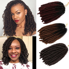 8 pouces 110g moelleux Ombre printemps torsion cheveux synthétique Kanekalon Passion torsion Crochet Extensions de cheveux tressage cheveux pré étiré(China)