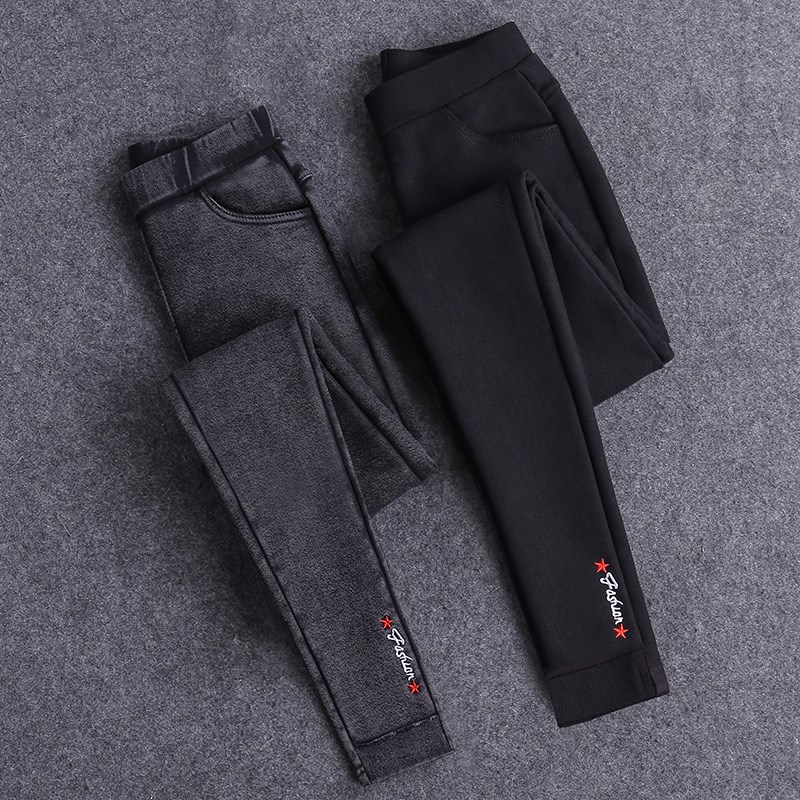 2020 Sexy Embroidery Solid Pencil Pants Women's Full Length Leggings High Waist Stretch Trousers Female Casual Wear Washed Black