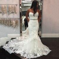 Double Layers Mermaid Wedding Dresses 2020 Sweetheart Beaded Waist Vintage Black Girls Lace Up Back Wedding Bridal Gown