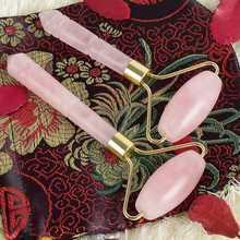 Розовый кварц косметический ролик мини массажер с кристаллами