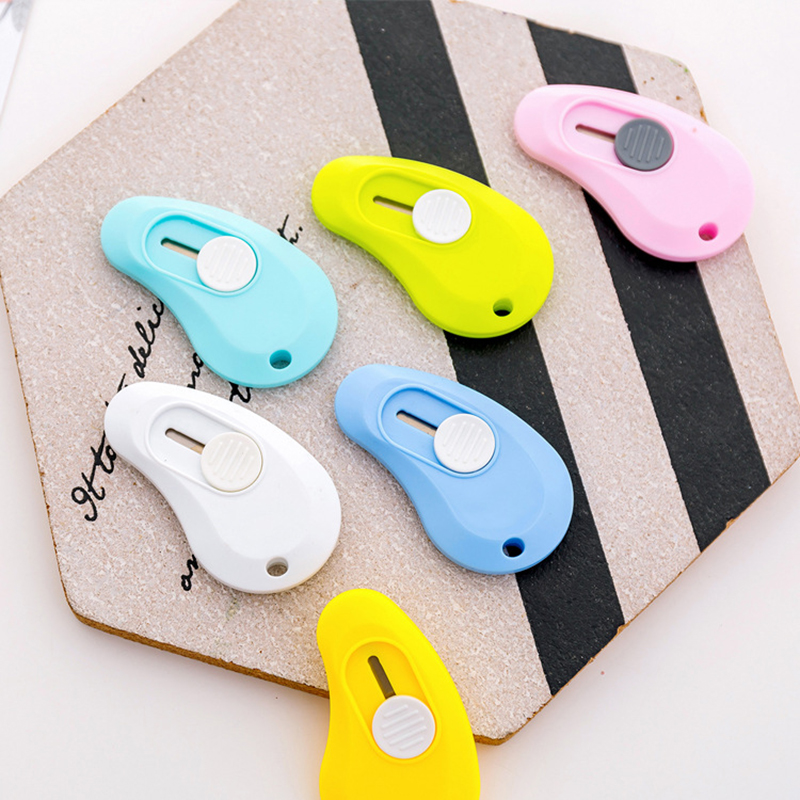 4Pcs/lot Kawaii Cute Solid Color Mini Portable Utility Knife For Kids Paper Cutter Cutting Paper Razor Blade Creative Stationery