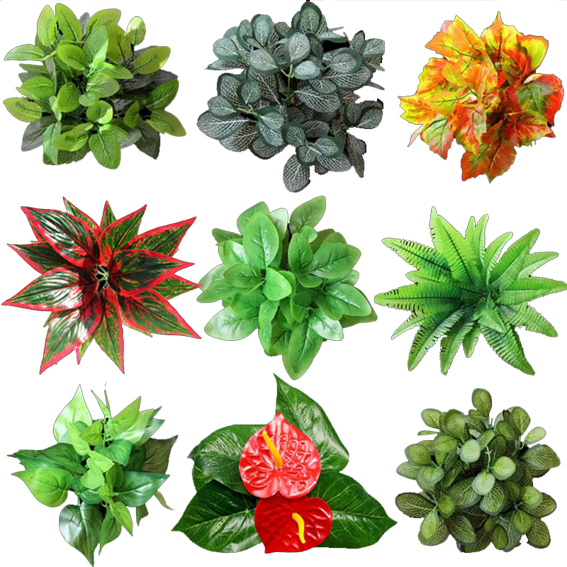 Artificial Flower Plant Lawn DIY Background Wall Simulation Grass Leaf Home Decoration Green Wholesale Carpet Turf Office Decor