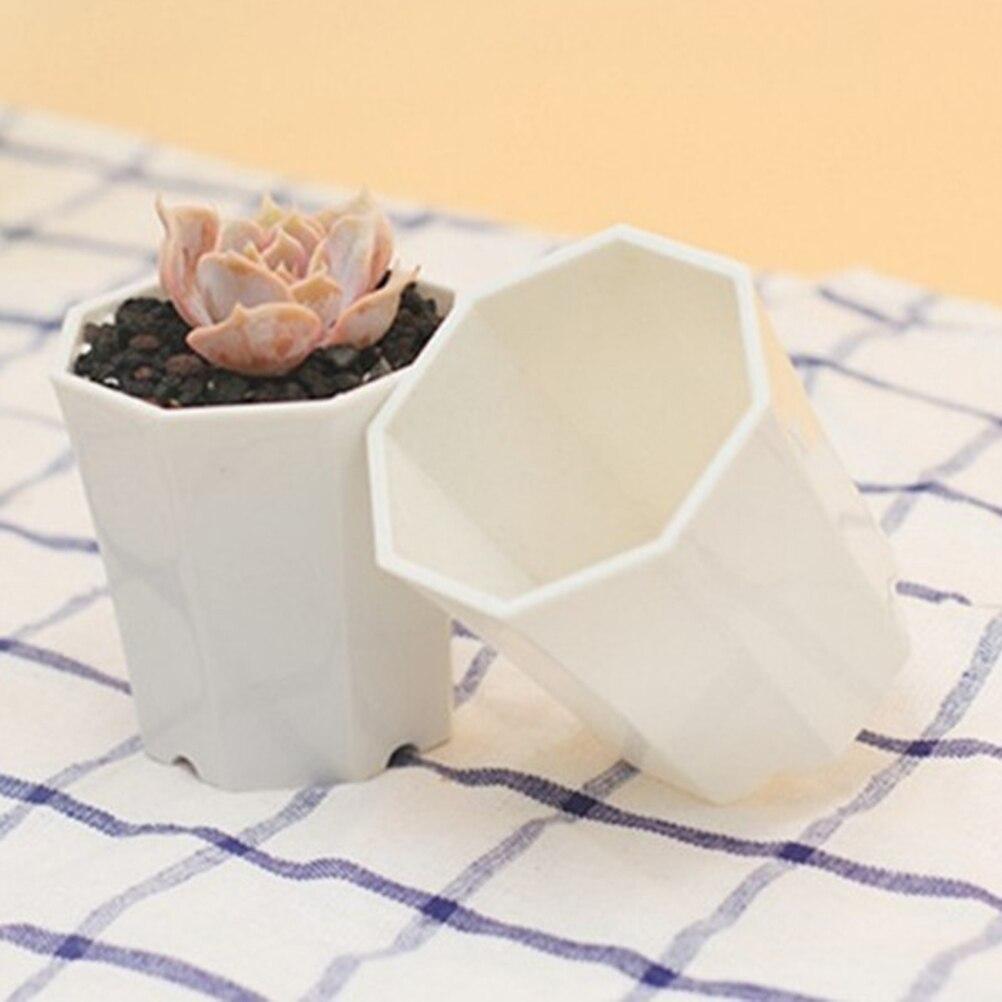 10Pcs Octagonal Pot Succulent Plant Pot Imitation Ceramic Small Flower Pot