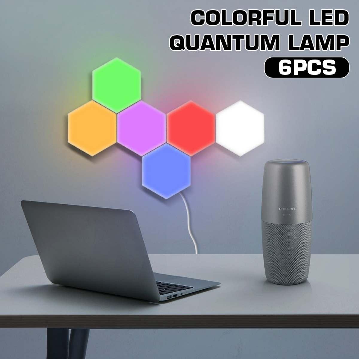 Smuxi 6 Pcs Touch Sensitive Quantum Light LED Modular Hexagonal Honeycomb Wall Lamp Remote Control Color-Changing Quantum Lamp