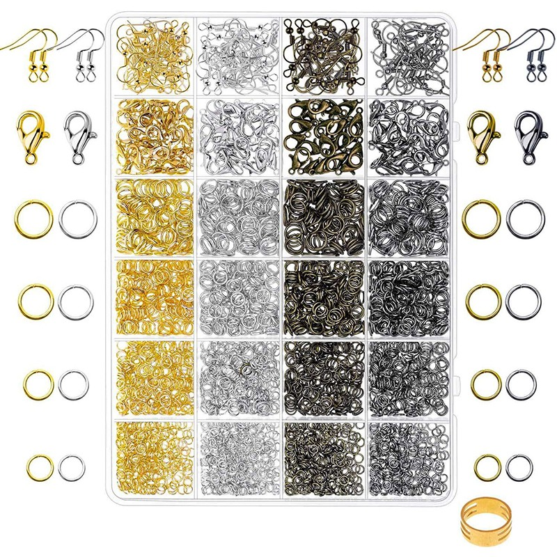 3200 Pack Jewellery Necklace Repair Kit with Jumpers, Clasps and Earring Hooks for Jewellery Making Supplies, Earring Making Acc