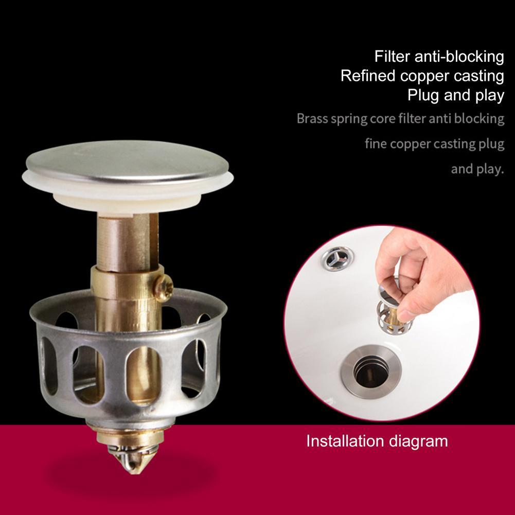 Bouncing Core Sink Drain Stopper Floor Drain Stopper Hair Catcher Filter For Basin Faucet Bathtub Plug Trap Bathroom Accessories|Drains|   - AliExpress