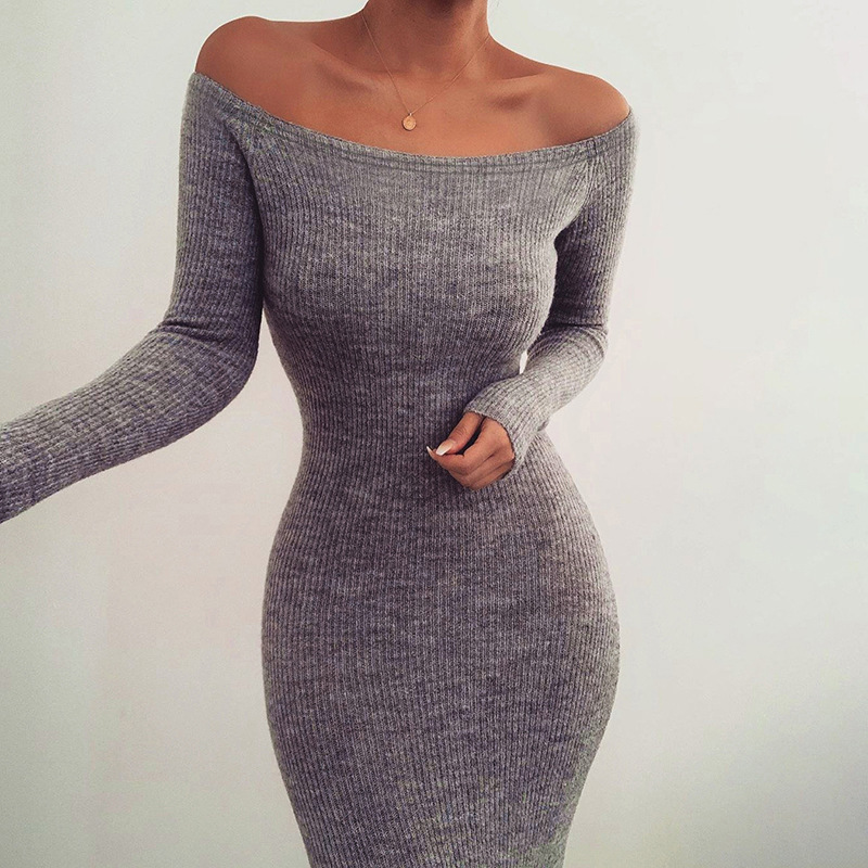 Off Shoulder Ribbed Knitted Long Sleeve Bodycon Midi Dress 4